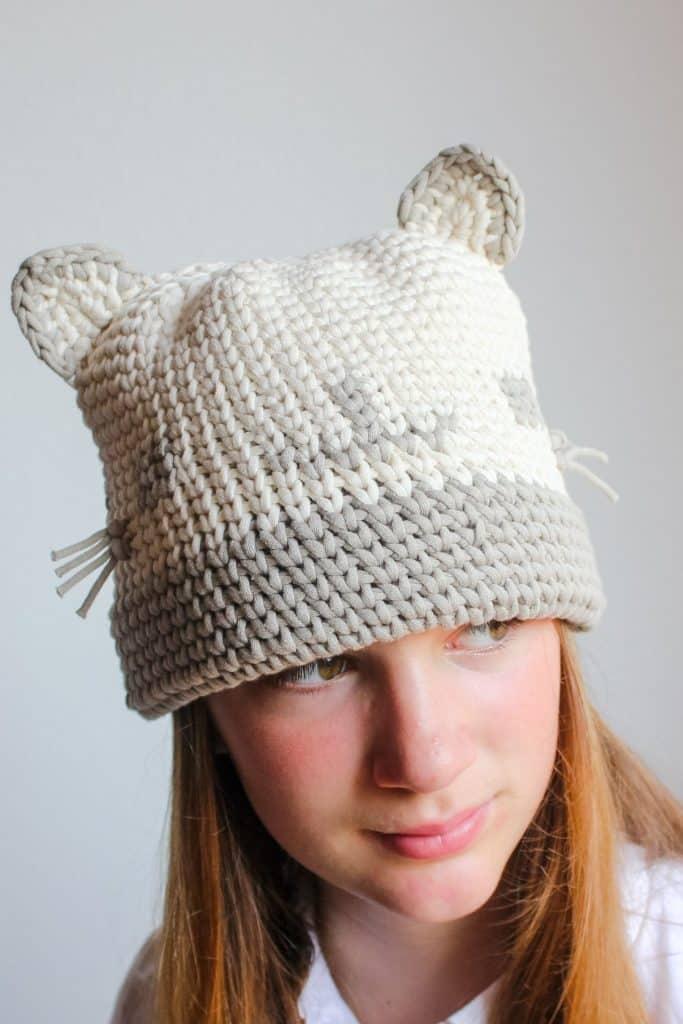 Kitty Cat Hat free crochet pattern