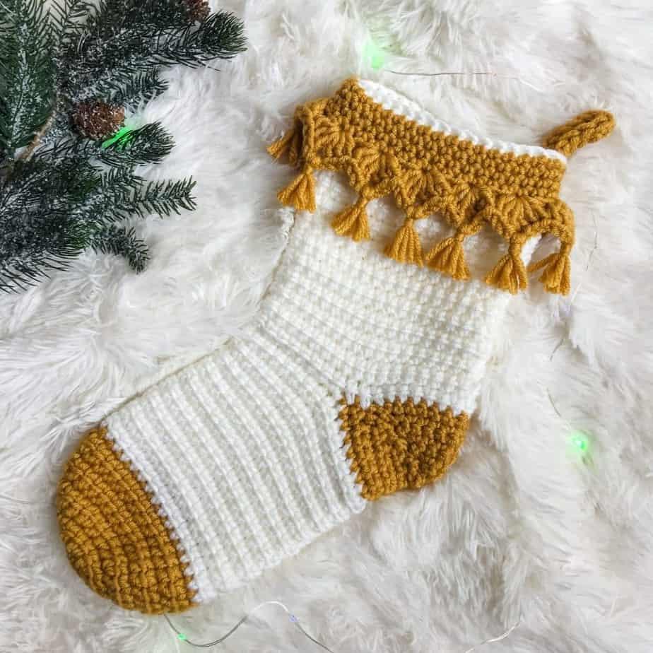 Luxe Boho Christmas Stocking free crochet pattern
