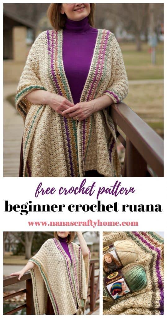 Beginner crochet ruana free pattern