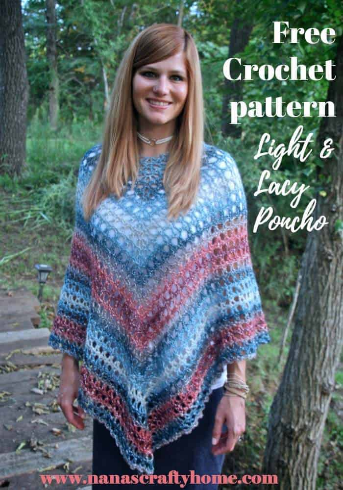 Light and Lacy poncho free crochet pattern