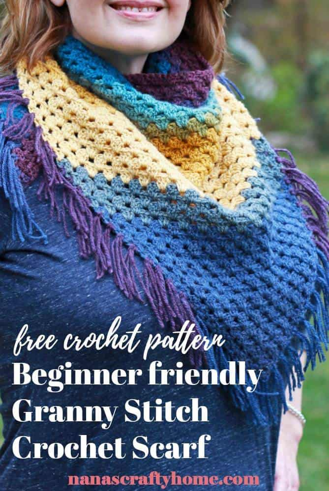 Bottom up granny stitch crochet scarf free pattern