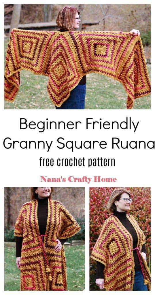 Beginner friendly granny square ruana free crochet pattern