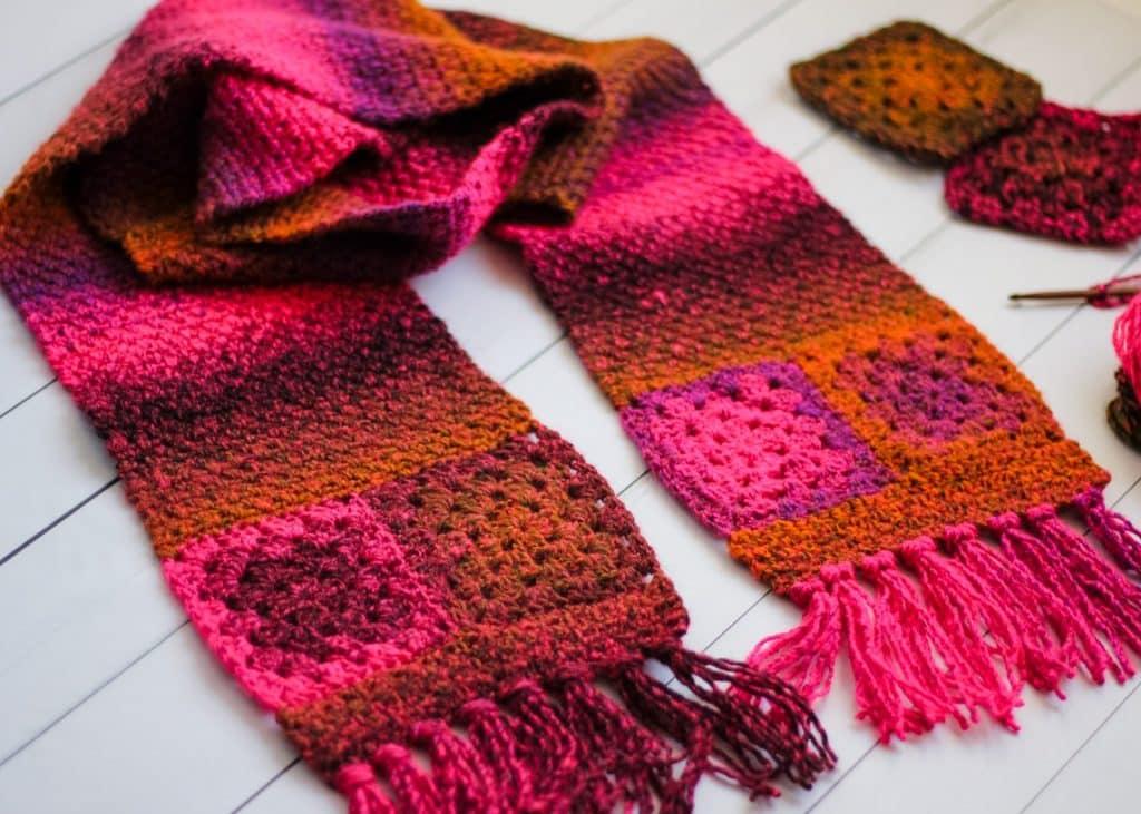 Granny Square Scarf free crochet pattern