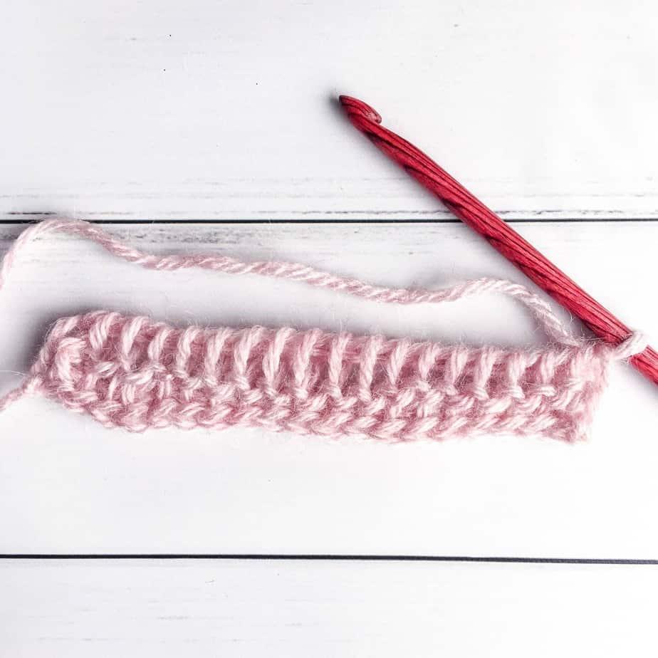Tunisian Crochet Purl Stitch Tutorial Process 6