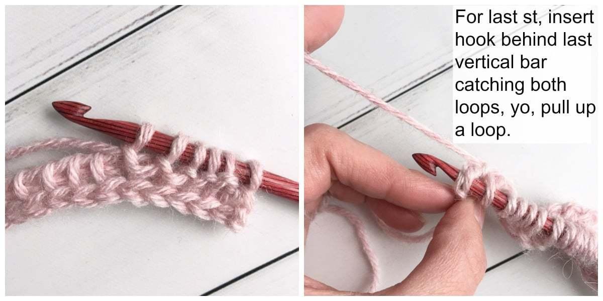 Tunisian Crochet Purl Stitch Tutorial Process 4