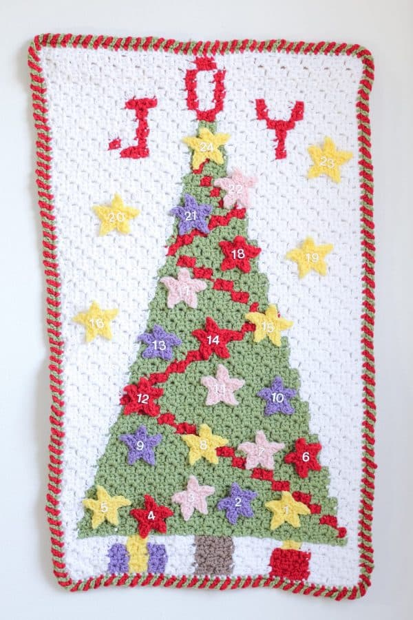 Christmas Tree C2C Advent Calendar free crochet pattern in process 2