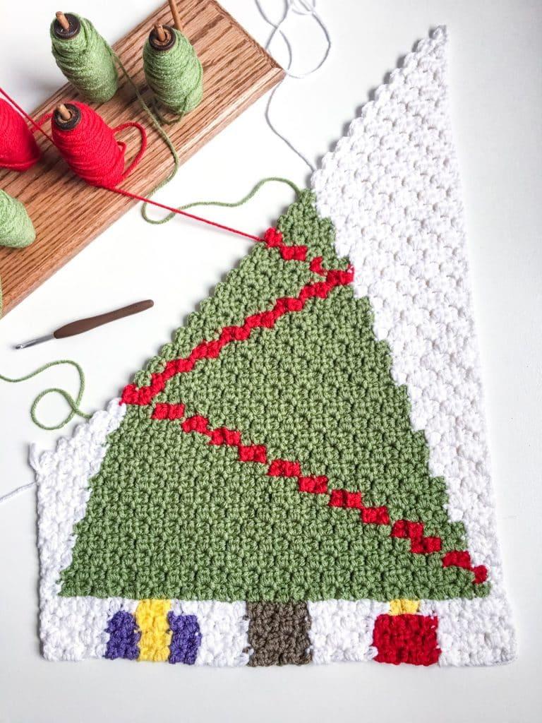 Christmas Tree C2C Advent Calendar free crochet pattern in process