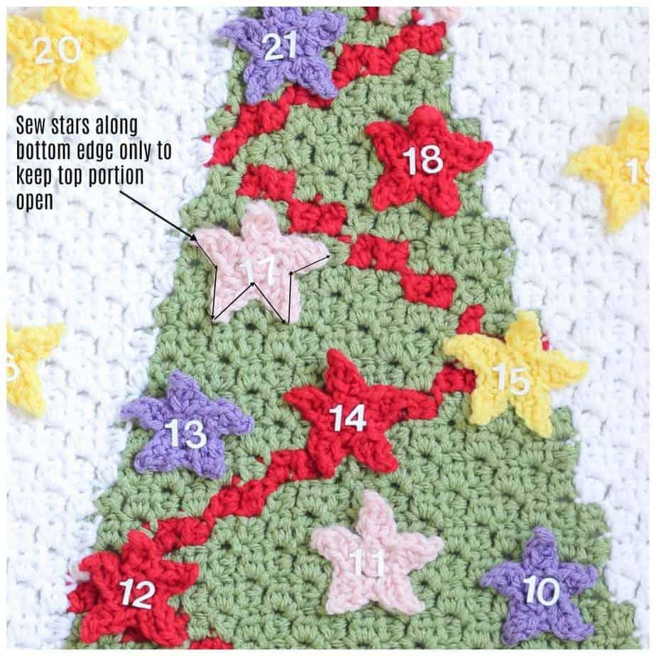 Christmas Tree C2C Advent Calendar free crochet pattern in process 3