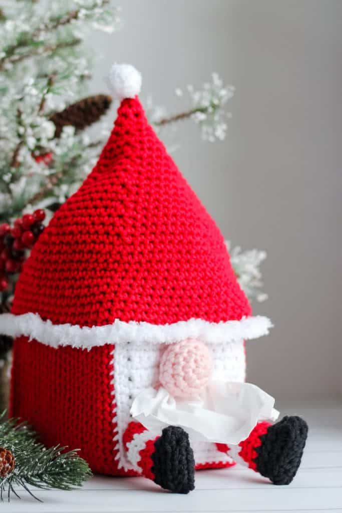 Gnome Tissue Box Cover free crochet pattern