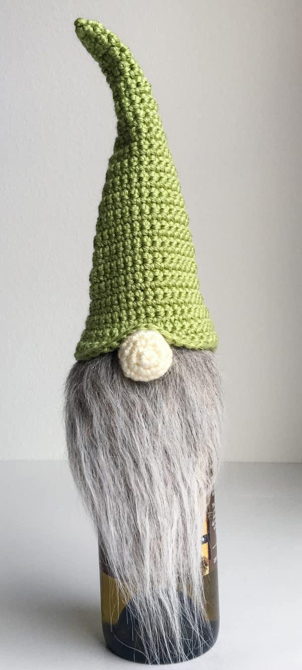 Gnome Wine Bottle Topper free crochet pattern