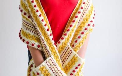 Stitch Sampler Pocket Scarf Free Crochet Pattern Crochet a Long Marjorie Scarf