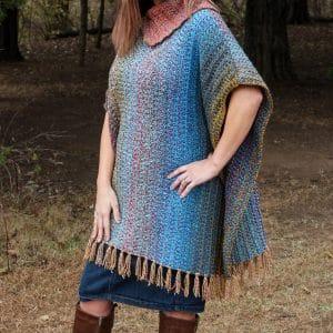 Easy Crochet Tweed Poncho Pattern