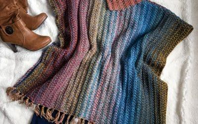 Easy Crochet Tweed Poncho Pattern looks Woven!