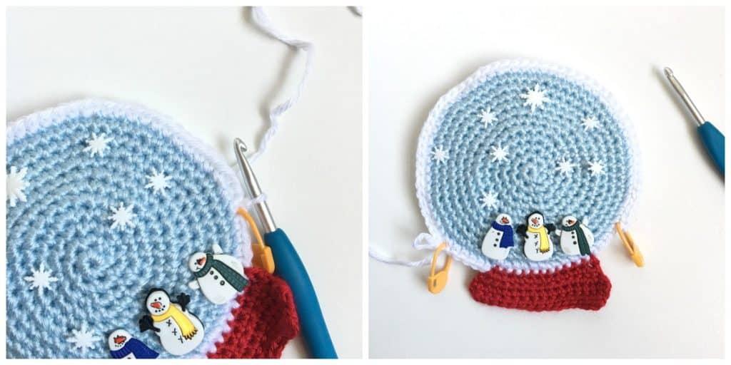 Snow Globe Towel Topper Free Crochet Pattern process 2
