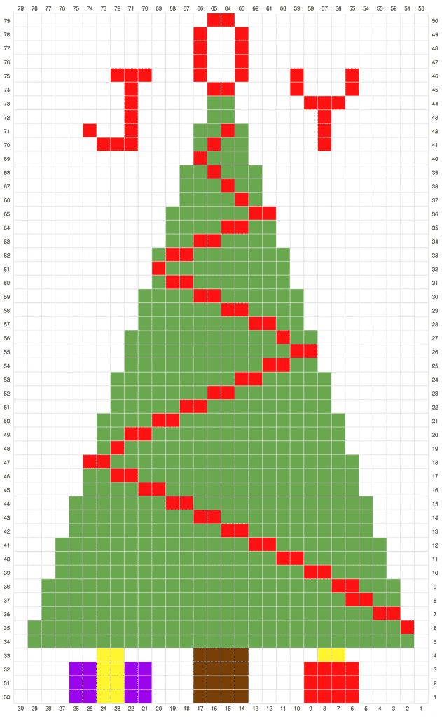 Christmas Tree C2C Advent Calendar free crochet pattern in process 2