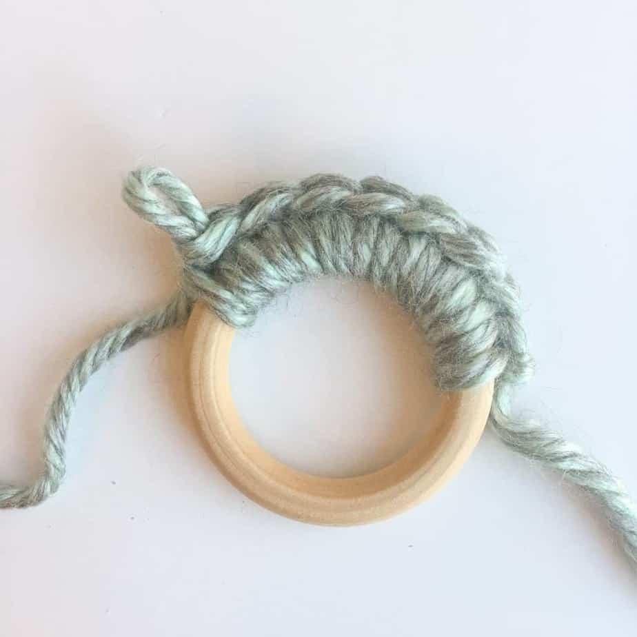 Crochet bobble headband process 1