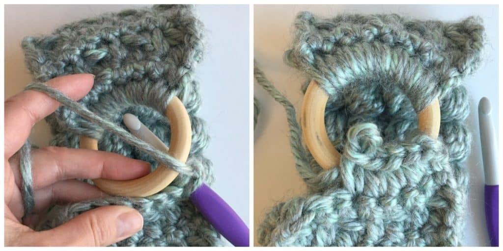 Crochet bobble headband process 2