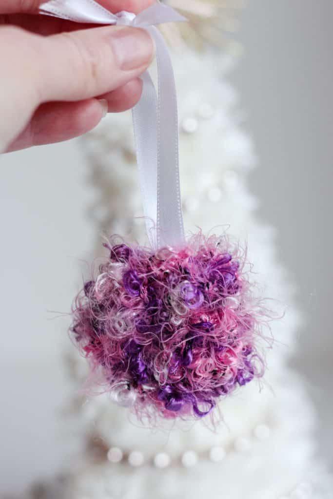 Luxe Bauble Bon Bon Ornament free crochet pattern