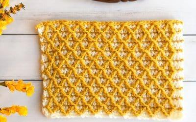 Diamond Waffle Crochet Stitch Photo and Video Tutorial