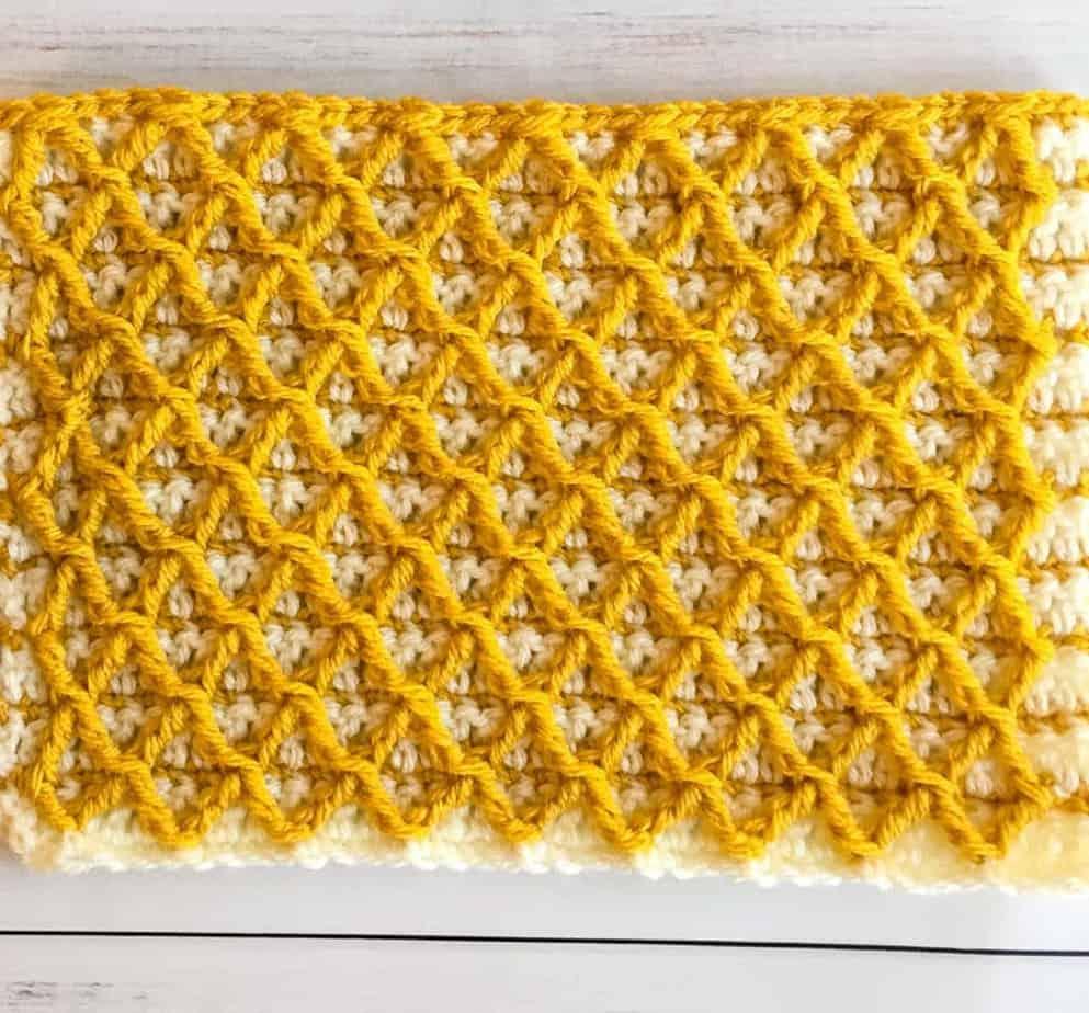 Diamond Waffle Crochet Stitch Process 14