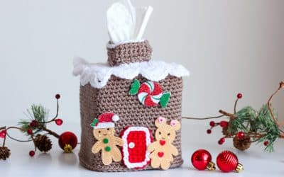 Gingerbread House Tissue Box Cover free crochet pattern