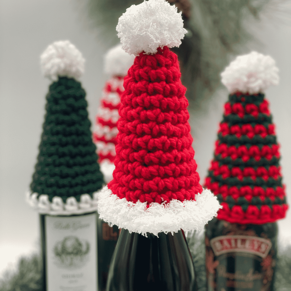 Holiday Wine Bottle Hat by Through the Loop Yarn Craft