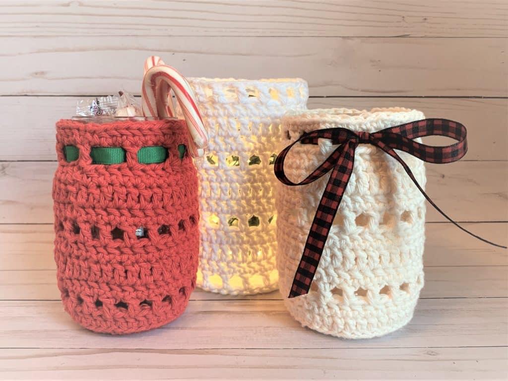 Madi Mason Jar Cozy by Crochets by Trista