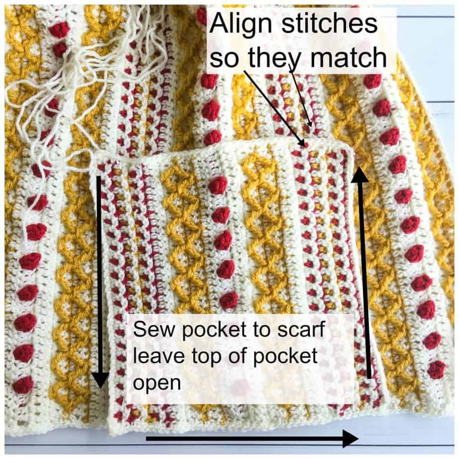 Pocket Shawl free crochet pattern pocket process