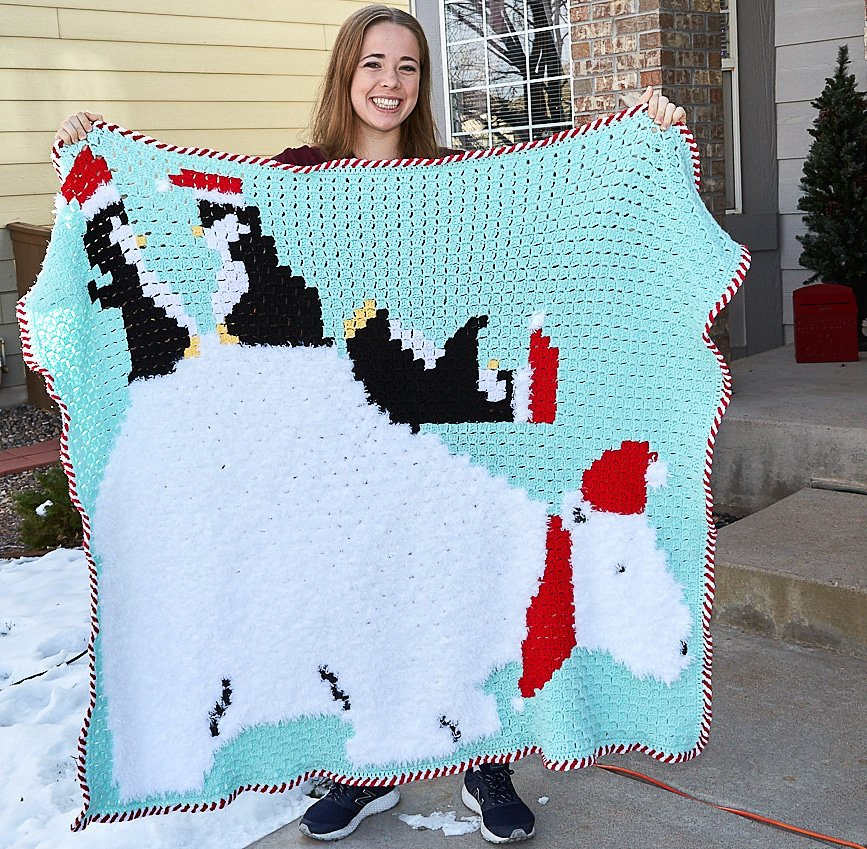 Polar Bear C2C Blanket by Lucinda A