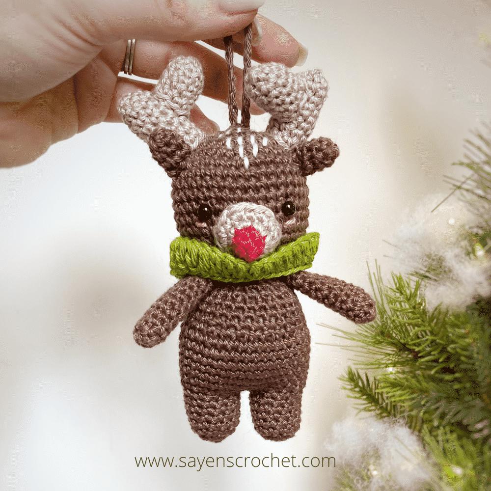 Reindeer Ornament by Sayens Crochet Holly Jolly Christmas Blog Hop