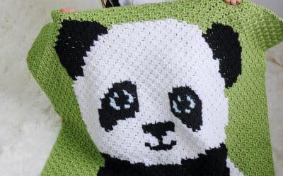 Panda Bear C2C Crochet Blanket free pattern