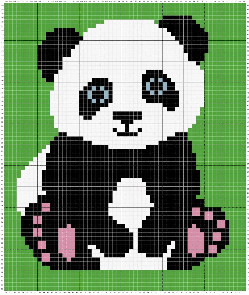 Panda C2C Crochet Blanket free pattern