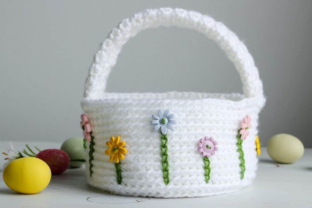 Flower Easter Basket free crochet pattern
