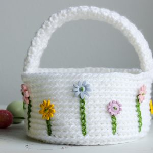 Flower Easter Basket free crochet pattern