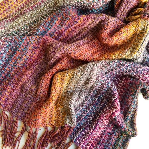 Woven crochet blanket free crochet pattern
