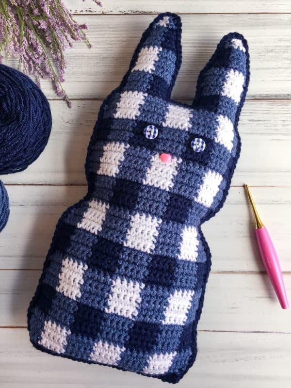 Gingham Bunny Cuddler Free Easter Crochet Pattern