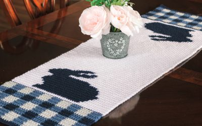 Gingham Bunny Crochet Table Runner  Easter Spring Free Crochet Pattern