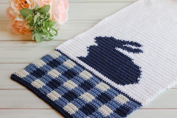 Gingham Bunny Table Runner Free Crochet Pattern