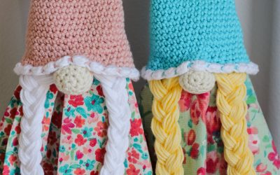 Crochet Girl Spring Gnome Towel Topper free crochet pattern