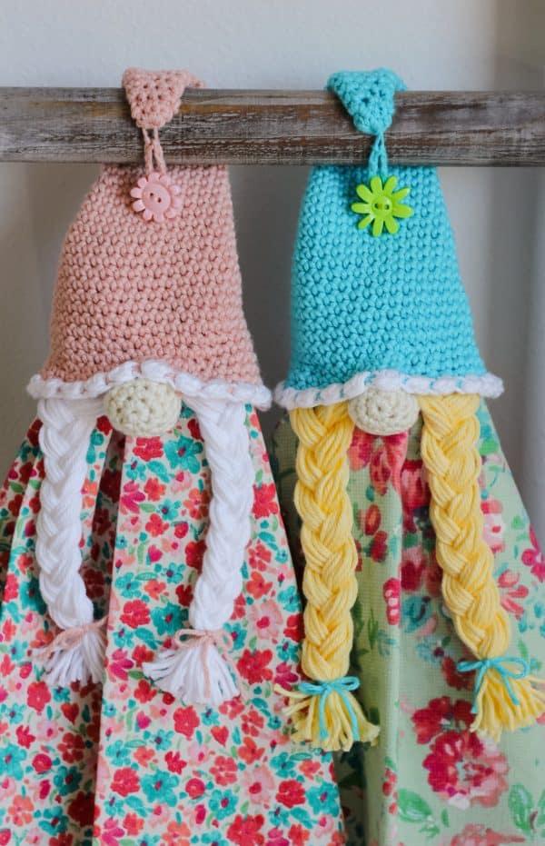 Crochet Girl Spring Gnome Towel Topper free crochet pattern