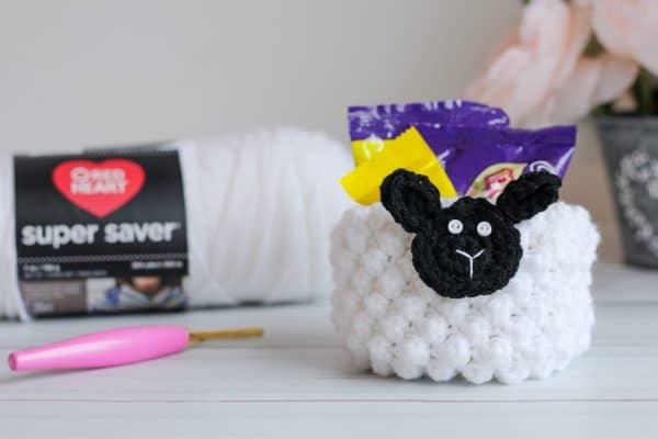 Lamb Cup Basket free crochet pattern