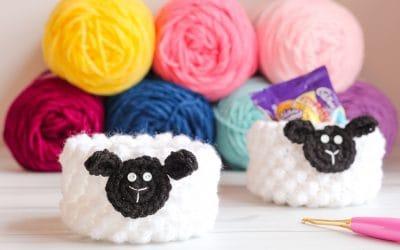 Crochet Lamb Cup Basket free crochet pattern