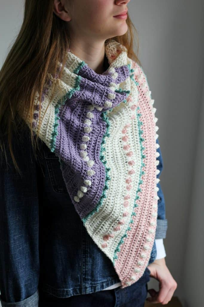 Spring Lark Asymmetrical Scarf free crochet pattern