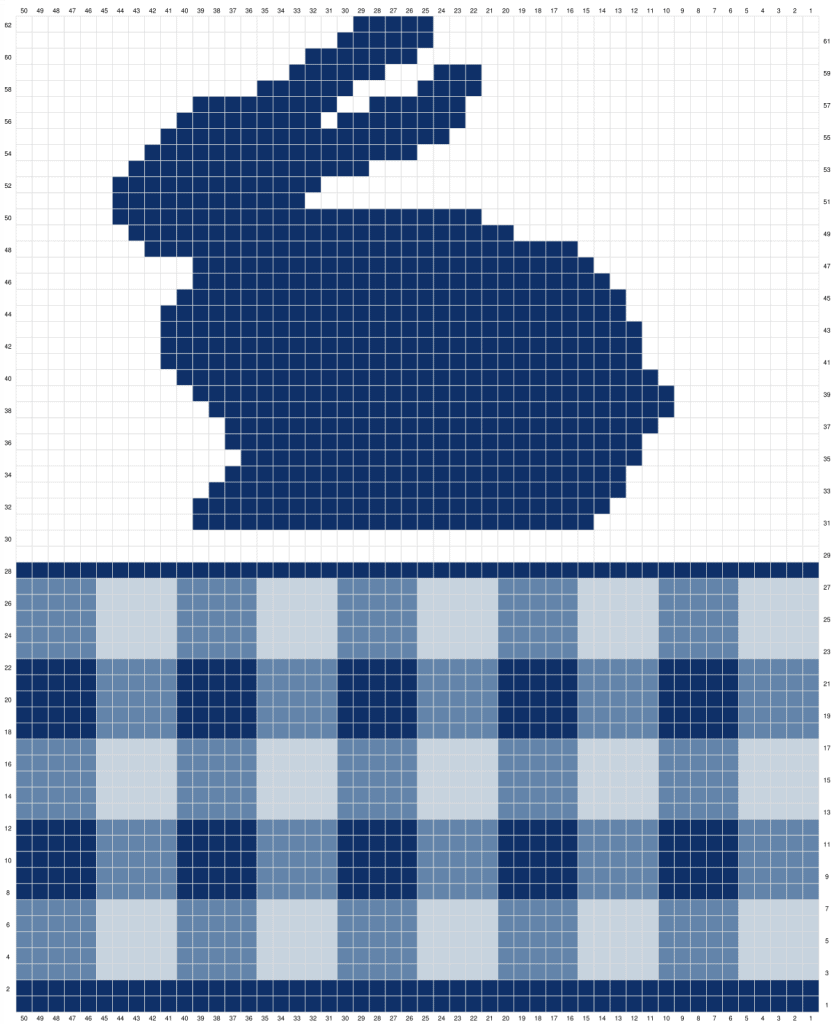 Gingham Bunny Table Runner Free Crochet Pattern Graph Part 1