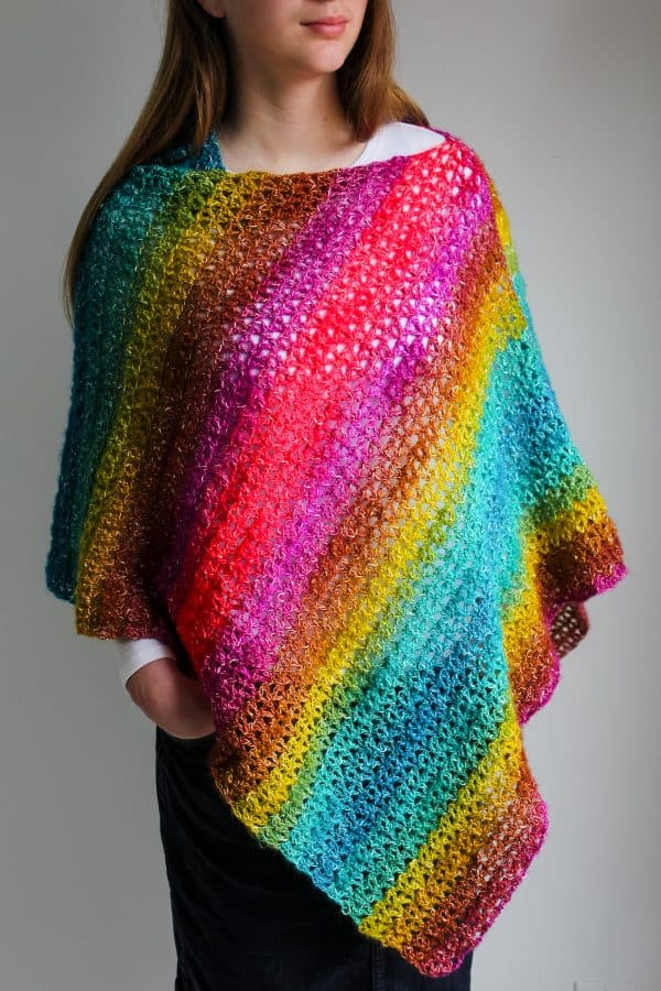 Bijou Asymmetrical Crochet Poncho