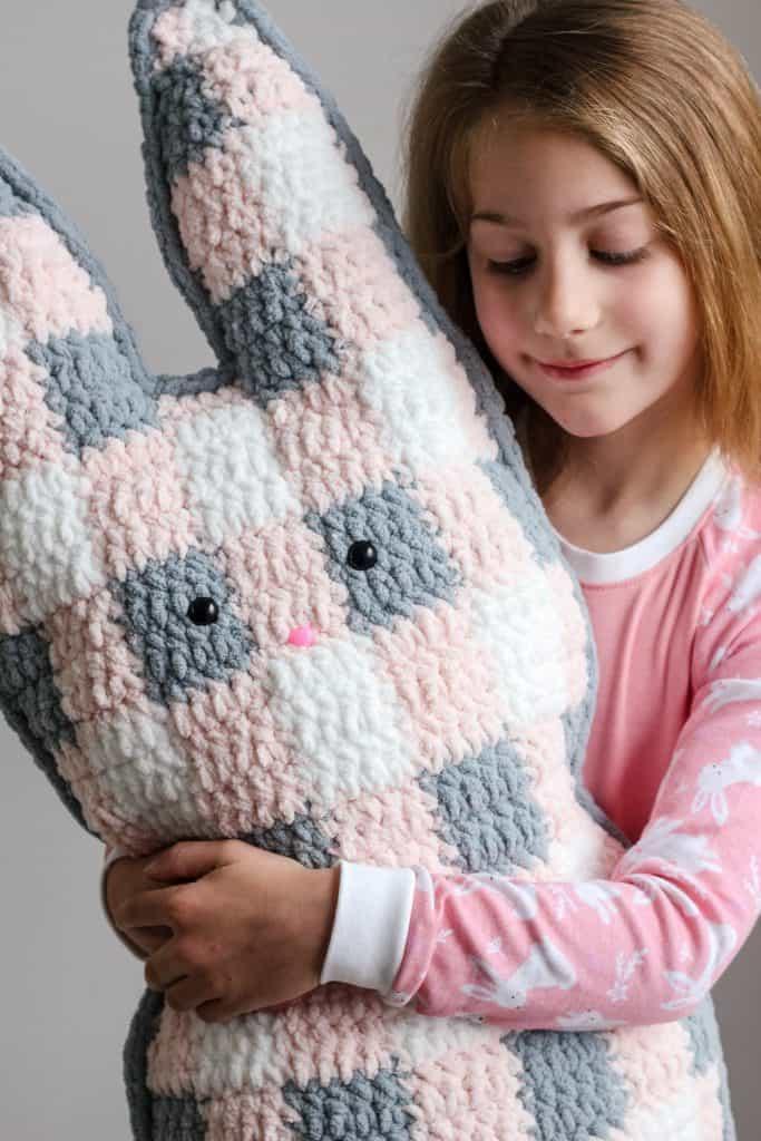 Gingham Bunny Cuddler Free Crochet Pattern