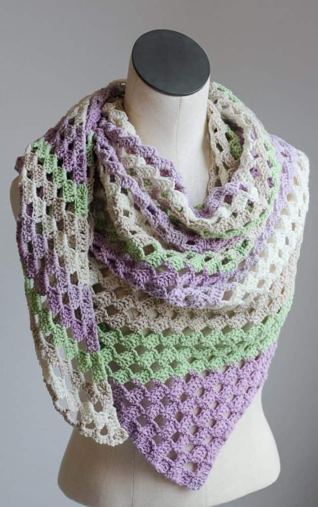 C2C Open Lacy Crochet Asymmetrical Scarf free crochet pattern