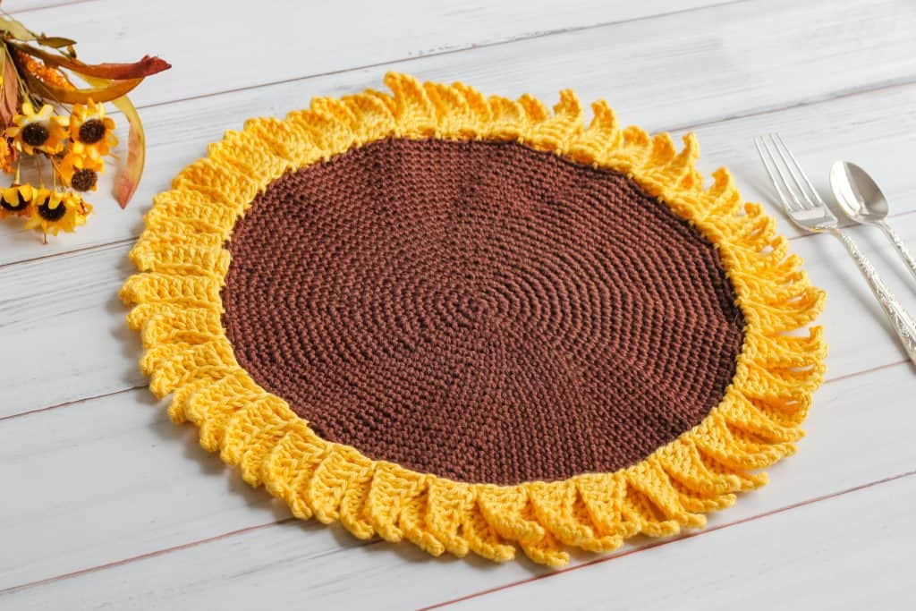 Sunflower Crochet Pattern placemat