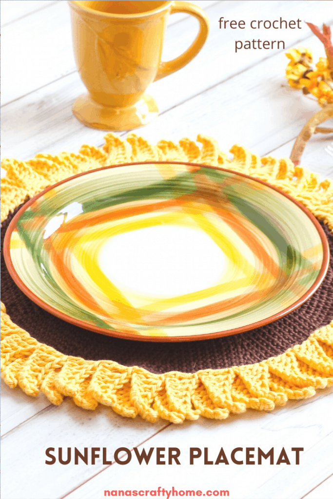 Free crochet sunflower placemat pattern
