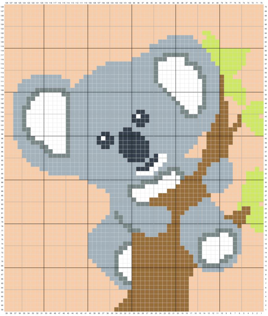 Koala Bear C2C Crochet Graphgan Blanket free crochet pattern